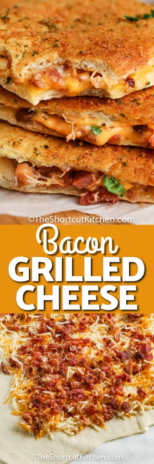 Oven baked grilled cheese stacked on top of each other, and crescent dough rolled out and covered with cheese and bacon under the title