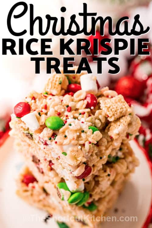 pile of Christmas Rice Krispie Treats on a plate with a title