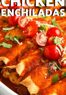chicken enchilada bake garnished with cherry tomatoes, cilantro and cheese with a title