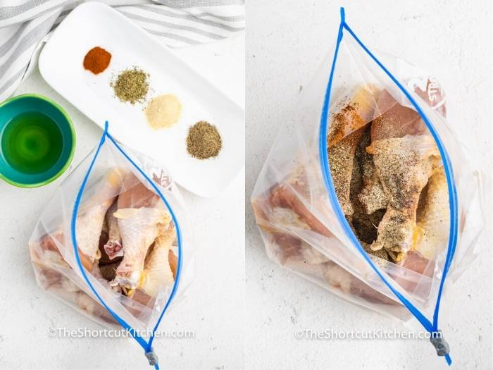 process of adding seasoning and chicken to bag to make Air Fryer Drumsticks