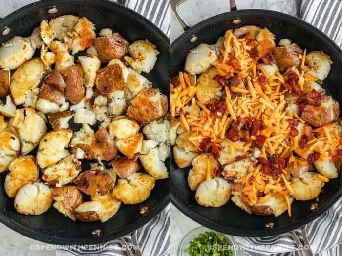 process of adding ingredients to pan to make Crispy Smashed Potatoes