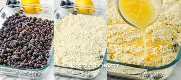 process of adding ingredients to dish to make Lemon Blueberry Dump Cake