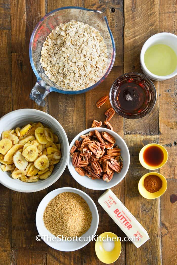 ingredients to make Banana Bread Granola