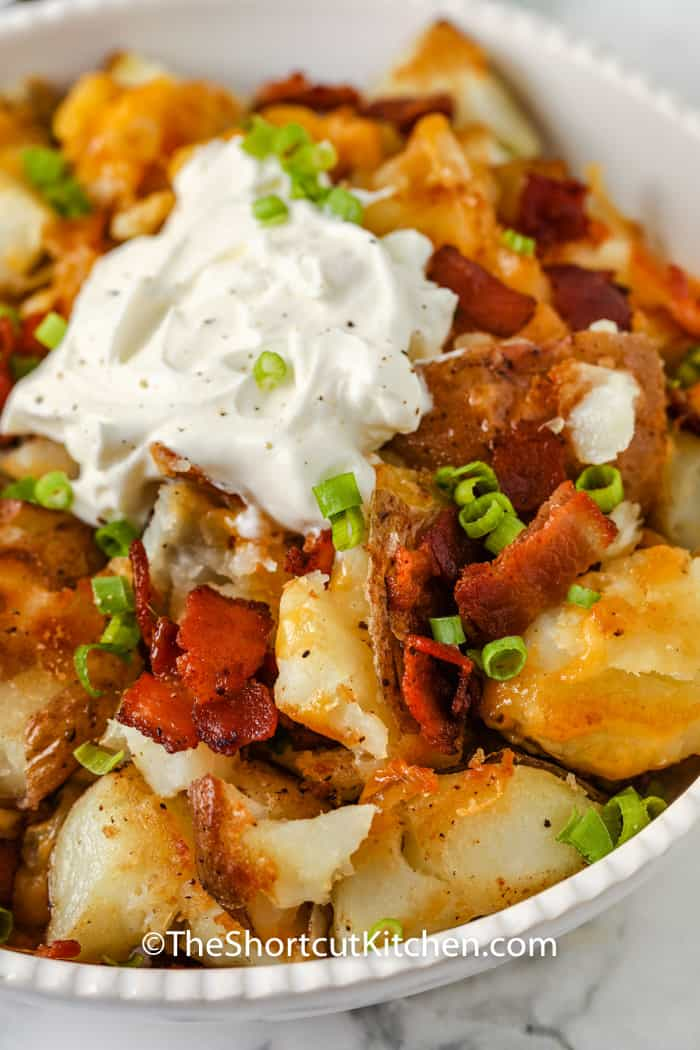 Crispy Smashed Potatoes with sour cream