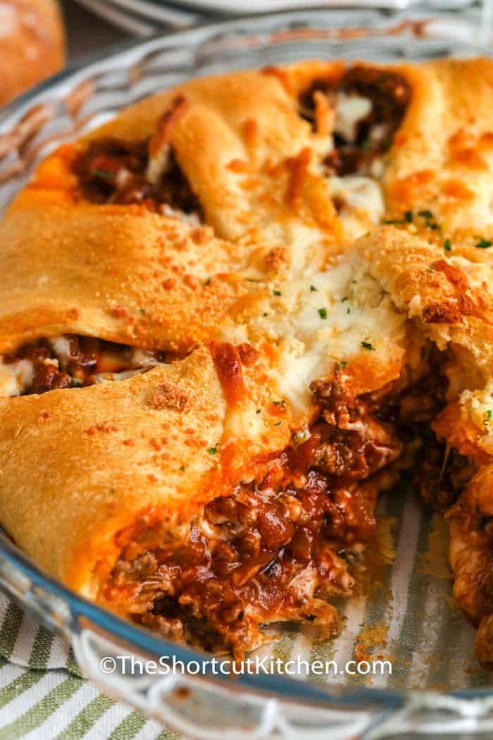 Easy Italian Casserole with a piece taken out of it