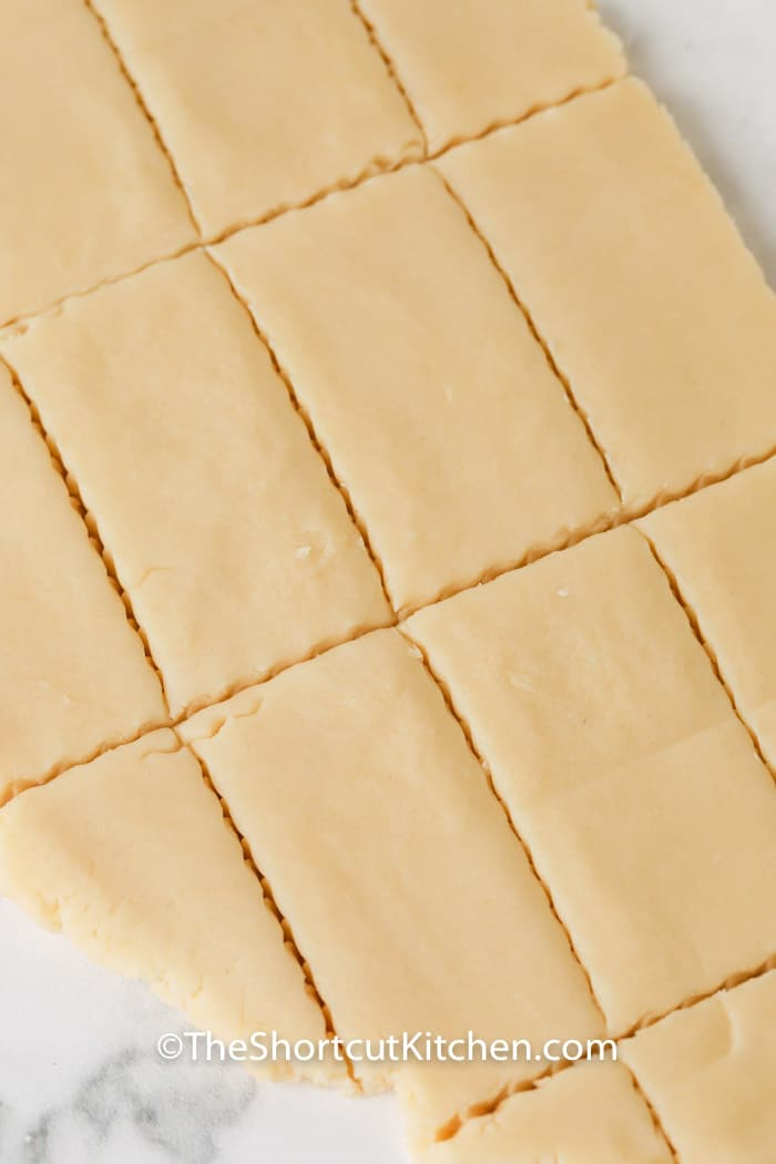 Shortbread cookie dough rolled out and cut into rectagles
