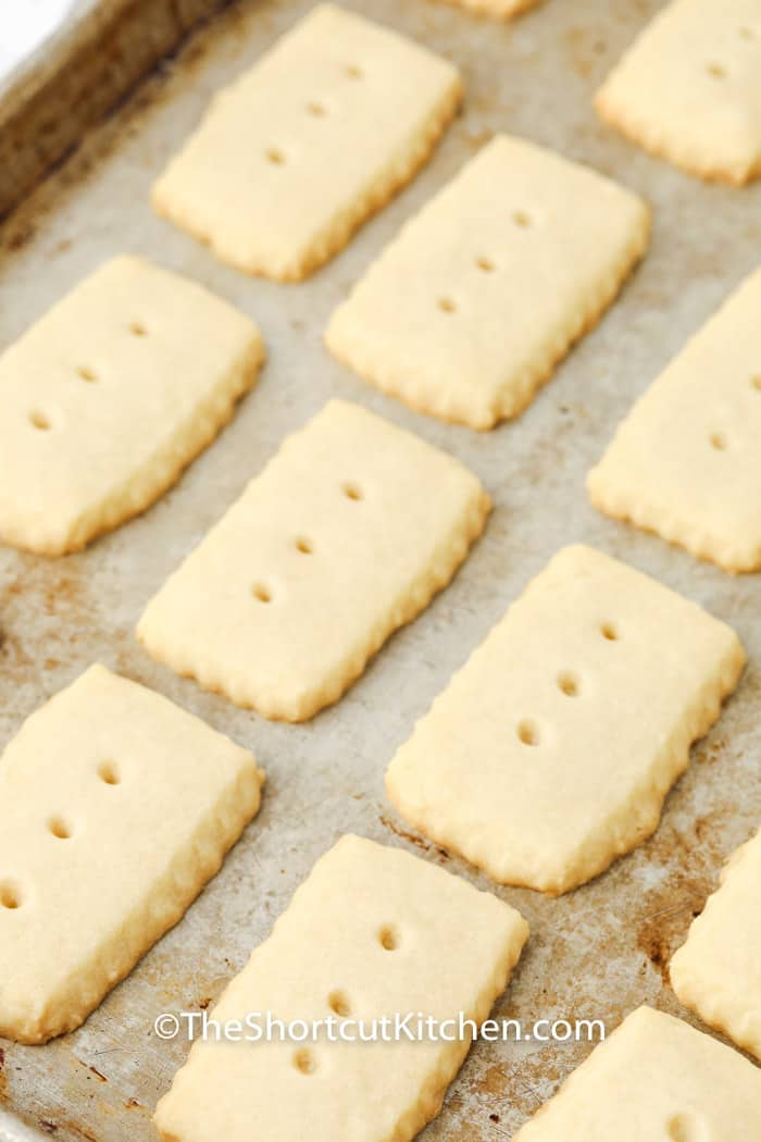Shortbread cookies baked on a cookie sheet