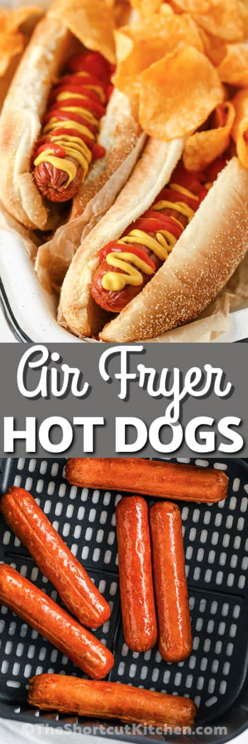 cooked Air Fryer Hot Dogs in the fryer and plated with writing