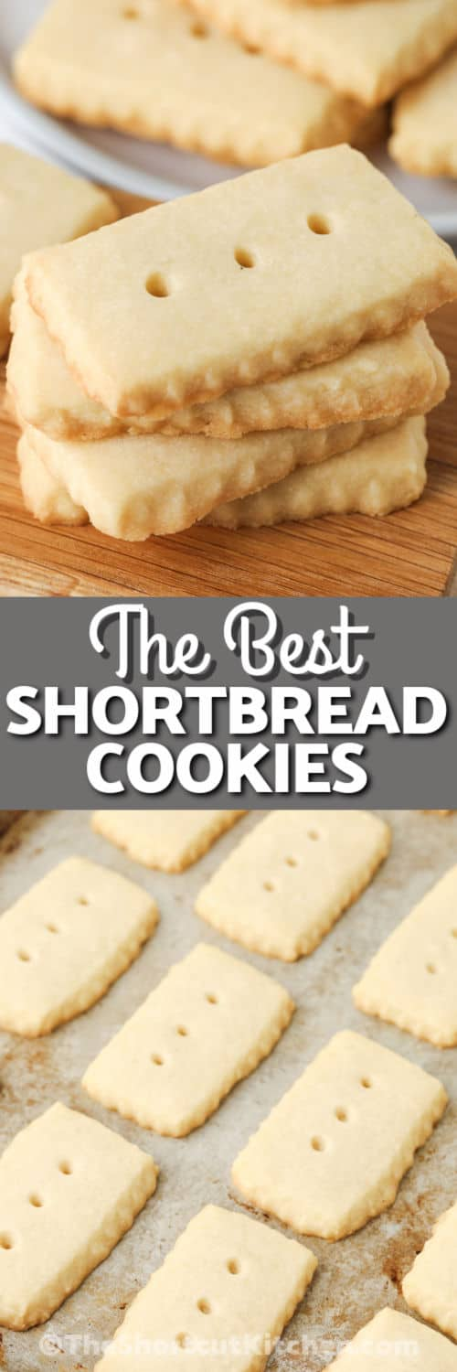 Easy Shortbread Cookies on a baking sheet and plated with a title