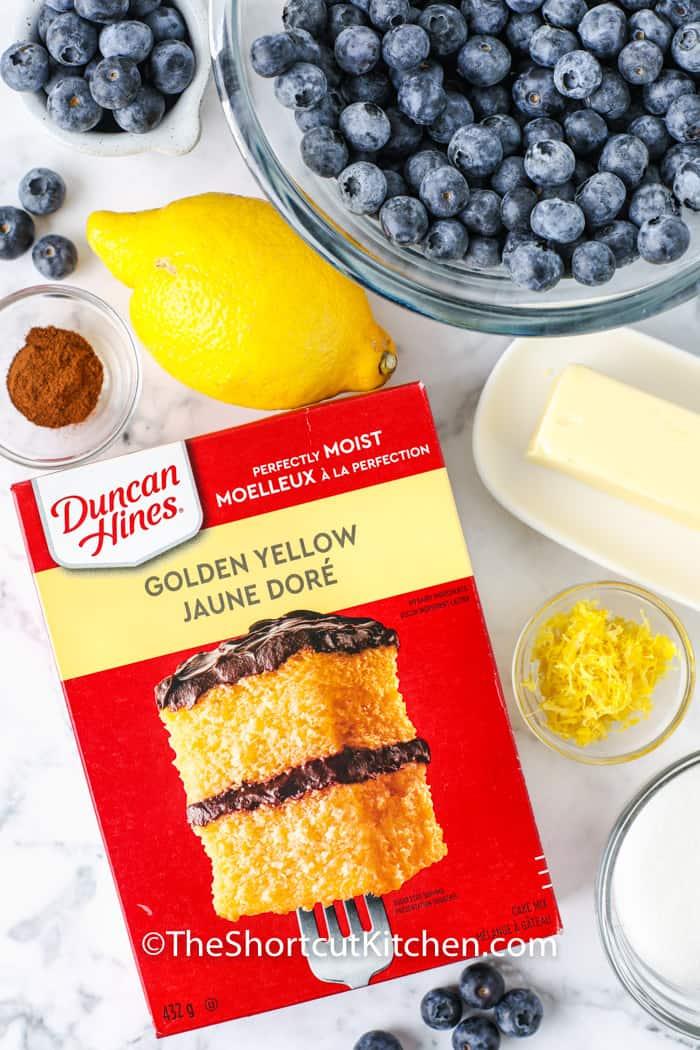 ingredients to make Lemon Blueberry Dump Cake