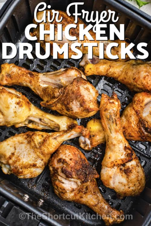 Air Fryer Drumsticks with writing