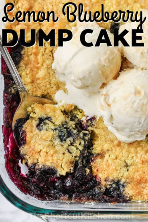 cooked Lemon Blueberry Dump Cake with a title