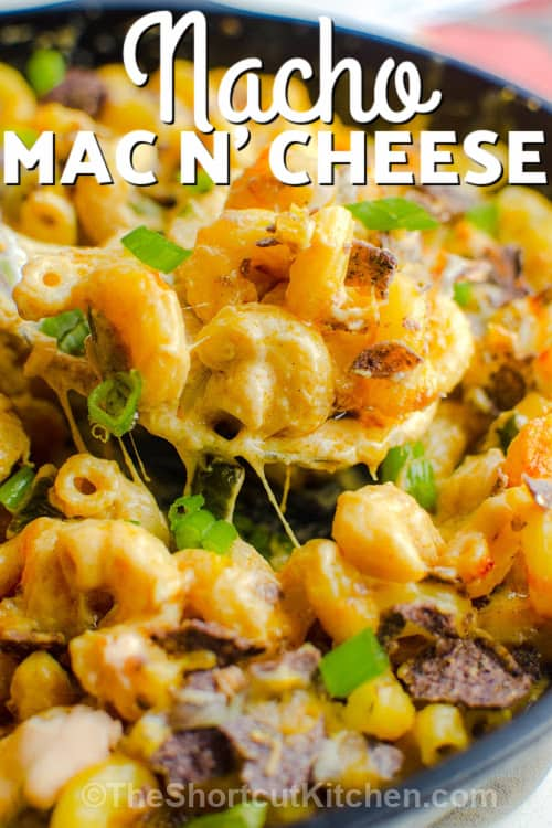spoon full of Nacho Mac N' Cheese with a title