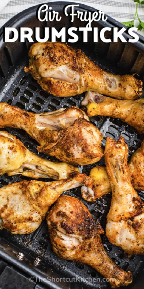close up of Air Fryer Drumsticks with a title