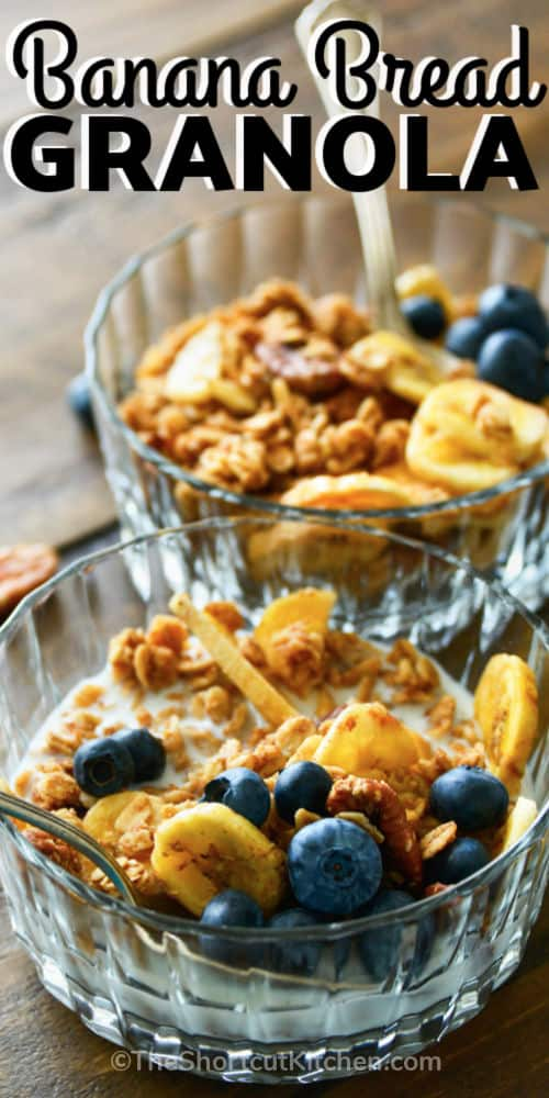 Banana Bread Granola in bowls with a title