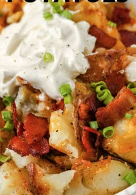 plated Crispy Smashed Potatoes with sour cream and a title