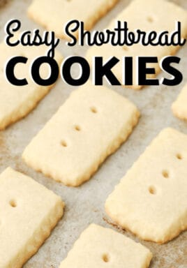 Easy Shortbread Cookies on the baking sheet with a title