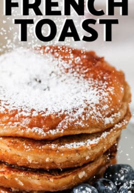 close up of Glazed Donut French Toast with a title
