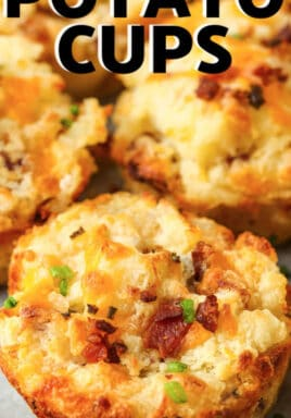 close up of Loaded Mashed Potato Cups with a title