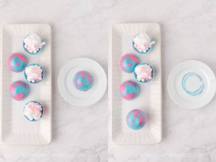 process of adding the top chocolate mold to Cotton Candy Hot Cocoa Bombs