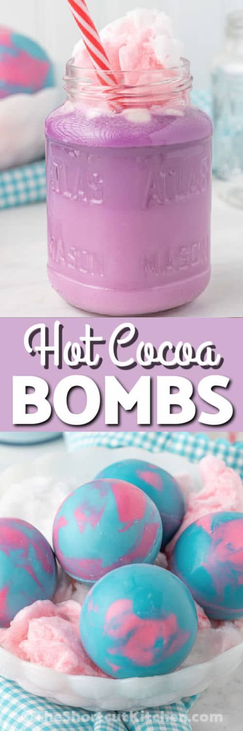 Cotton Candy Hot Cocoa Bombs with hot cocoa in a glass and a title