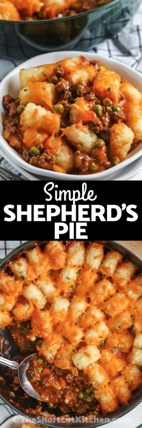 Shortcut Shepherd's Pie in the pot and plated with a title