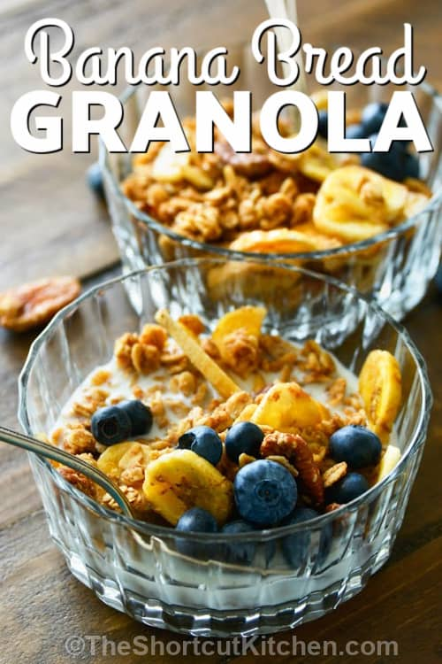 close up of Banana Bread Granola with a title