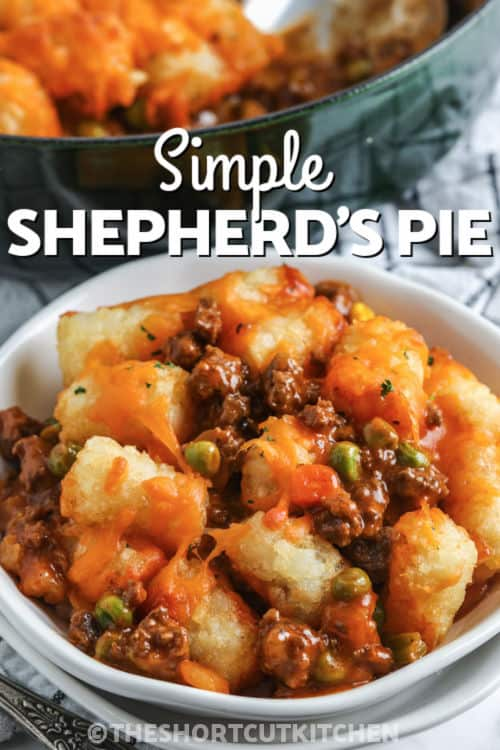 plated Shortcut Shepherd's Pie with writing