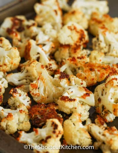 close up of Roasted Cauliflower on a baking sheet