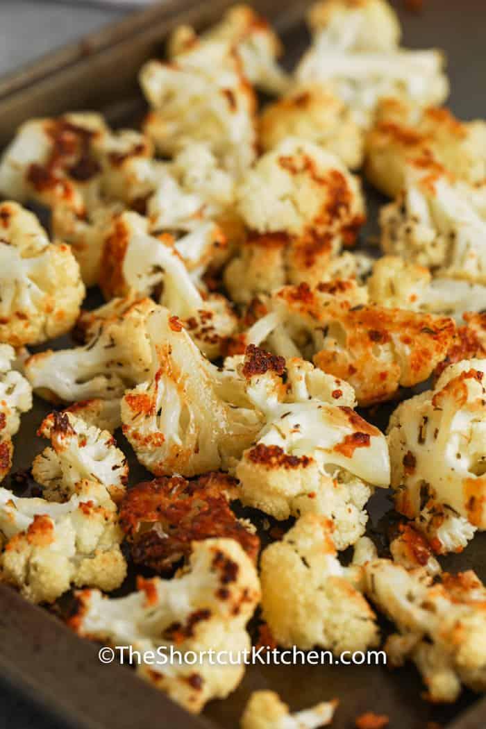 close up of Roasted Cauliflower on a baking sheet