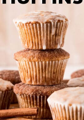 Cinnamon Sugar Muffins with writing