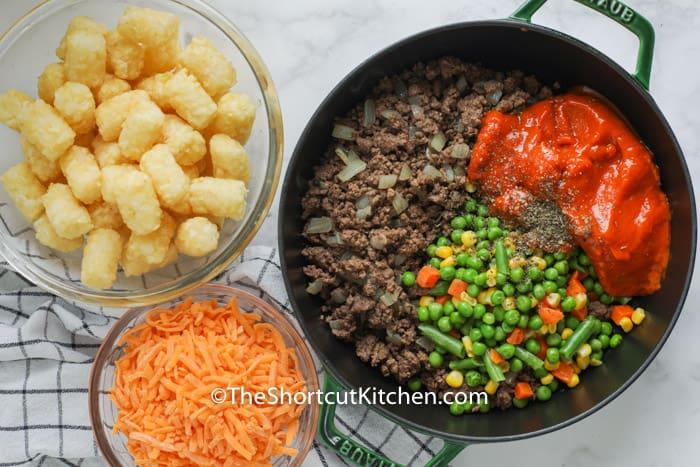 ingredients to make Shortcut Shepherd's Pie in the pan