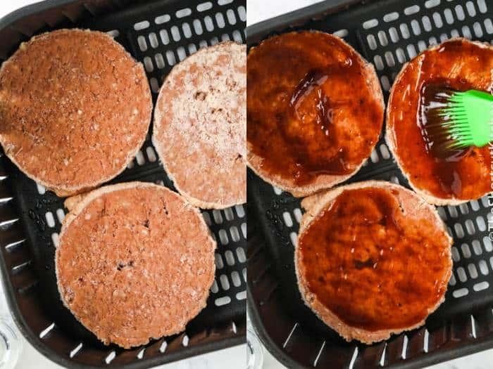 process of brushing sauce on Air Fryer Frozen Burgers