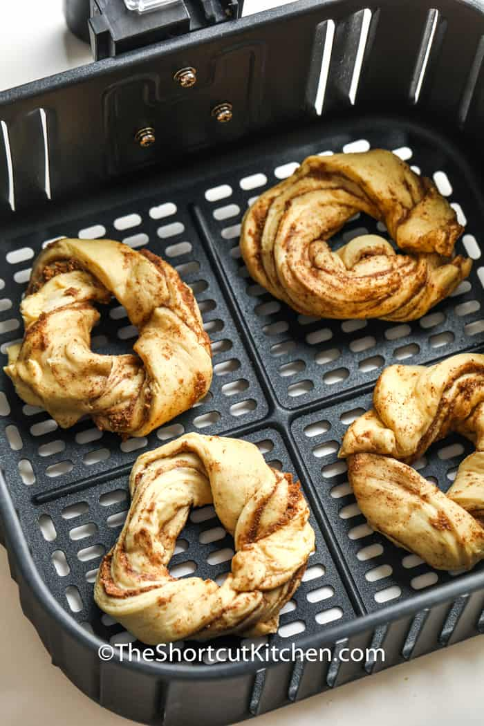 Air Fryer Cinnamon Twists in the air fryer