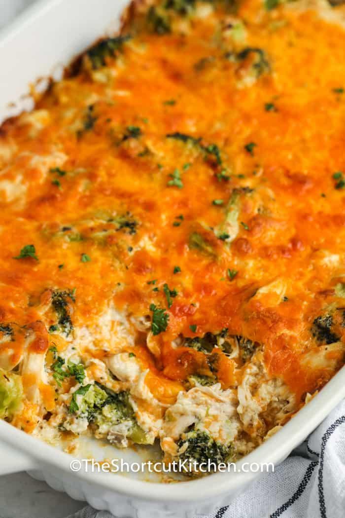 Chicken Broccoli Casserole cooked in a casserole dish