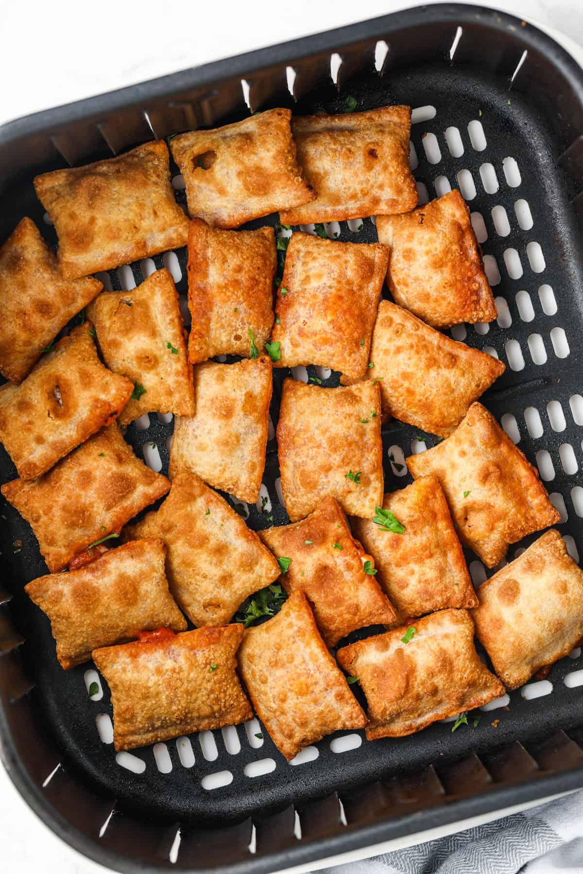 Air Fryer Pizza Rolls cooked in the air fryer