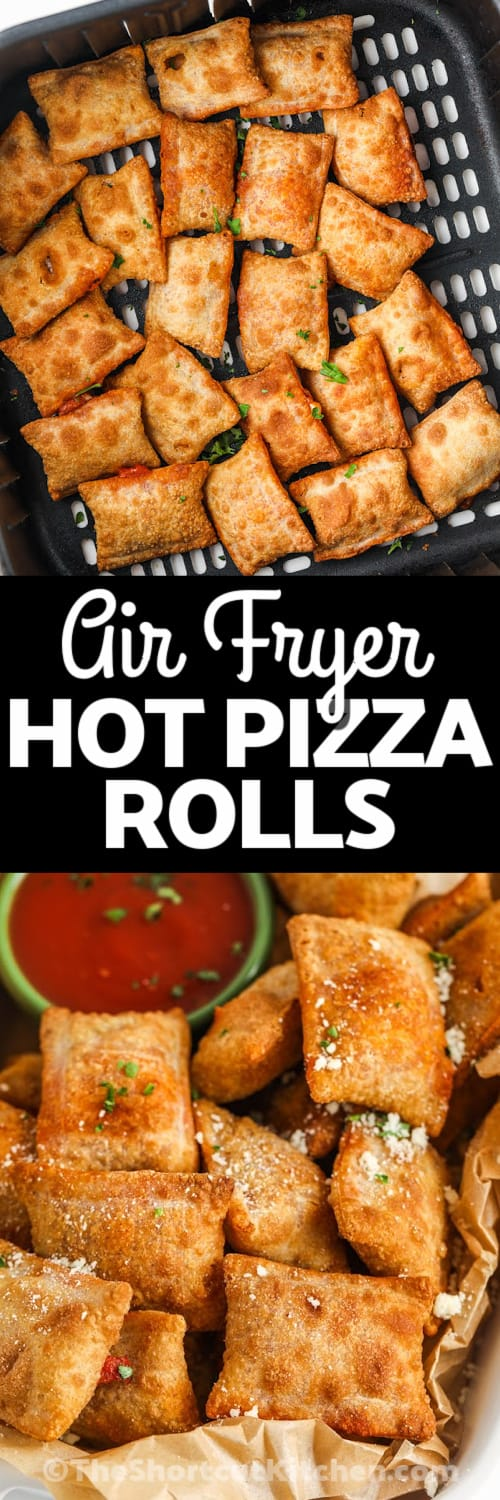Air Fryer Pizza Rolls in the air fryer with writing