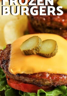 Air Fryer Frozen Burgers with writing