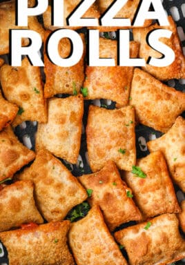 Mini Pizza Rolls in the air fryer with writing
