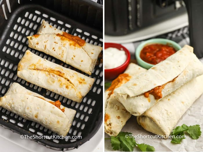 Cooked Air Fryer Frozen Burritos in the air fryer basket, and burritos piled up after cooking with dips