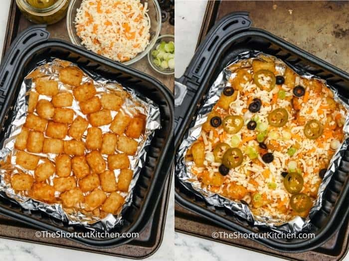Tater tots in a foil lined Air Fryer basket, and assembled Air Fryer Nachos prior to being heated.