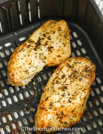 Air Fryer Frozen Chicken Breasts in the air fryer cooked
