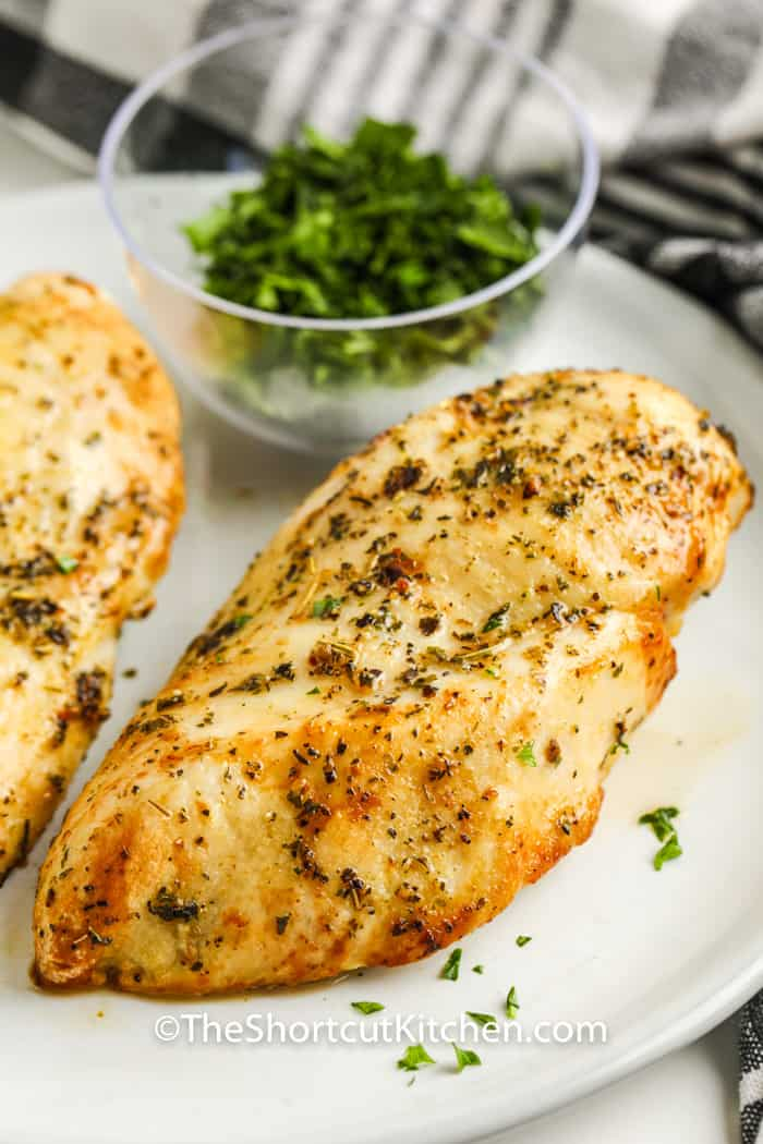 plated cooked Air Fryer Frozen Chicken Breasts
