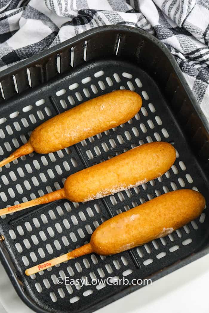 Air Fryer Frozen Corn Dogs in the air fryer
