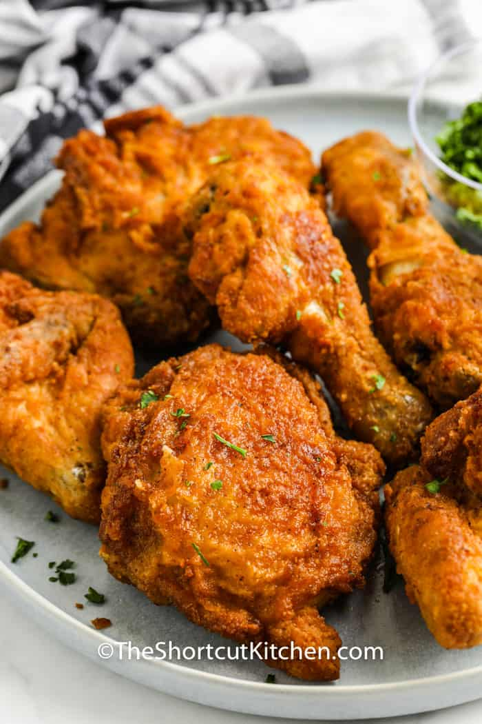 close up of chicken pieces to show How to Reheat Fried Chicken in the Air Fryer