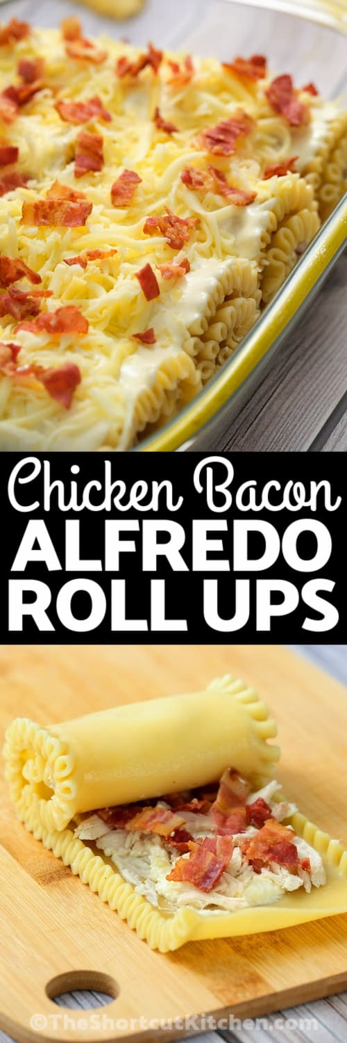 Chicken Bacon Alfredo Roll Ups in the pan and getting rolled with a title