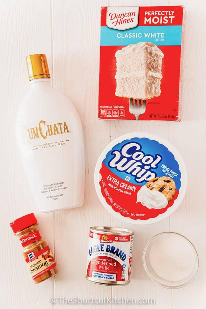 ingredients to make Rumchata Poke Cake