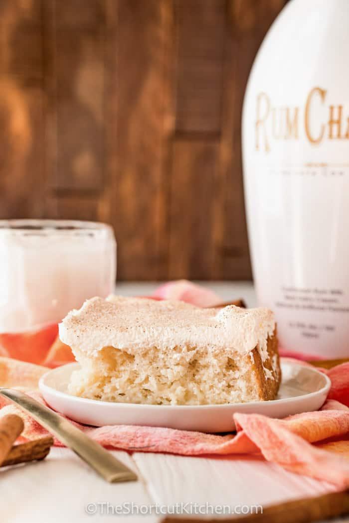 Rumchata Poke Cake on a white plate