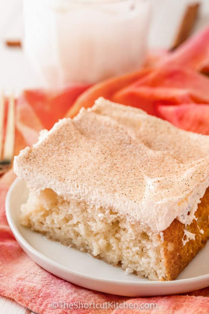 close up of Rumchata Poke Cake on a plate