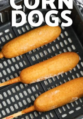 Air Fryer Frozen Corn Dogs in the air fryer with a title